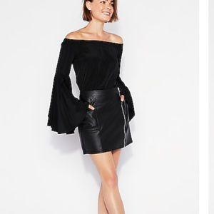 High waisted zip pocket leather mini skirt